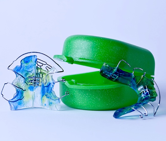 blue and green retainers